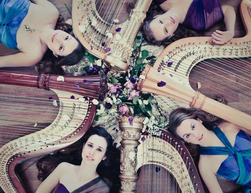 four girls four harps